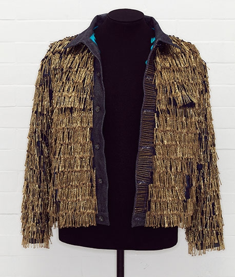 """Denim jacket, """"BLITZ,"""" by Levi Strauss & Co., customized by Leigh Bowery, 1986"""