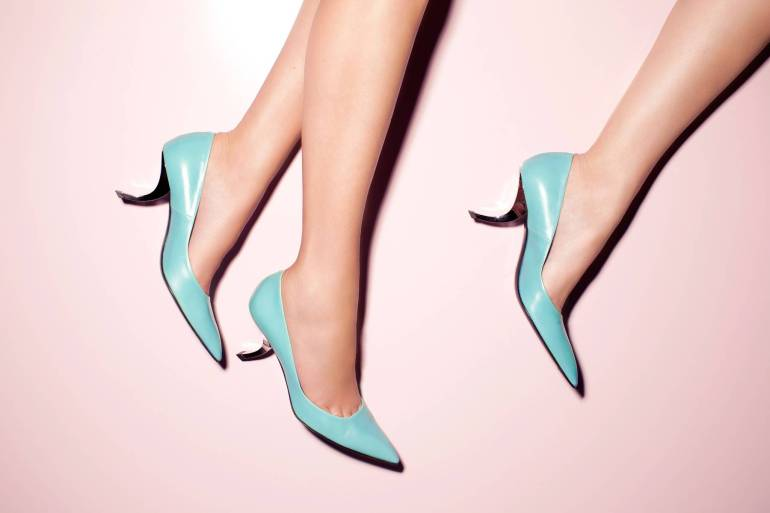 "Aqua pumps with chrome ""comma"" heel. Spring/Summer 2005 collection."