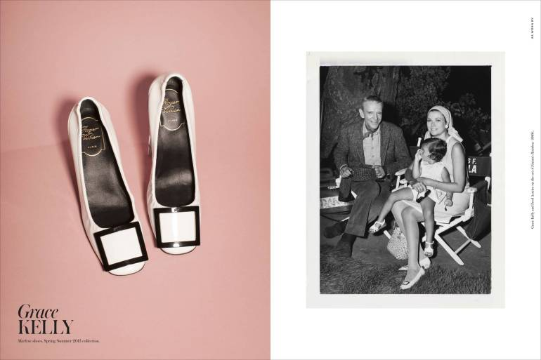 Left: Marlene shoes, Spring/Summer 2013 collection. Right: Grace Kelly and Fred Astaire on the set of Finian's Rainbow (1968).