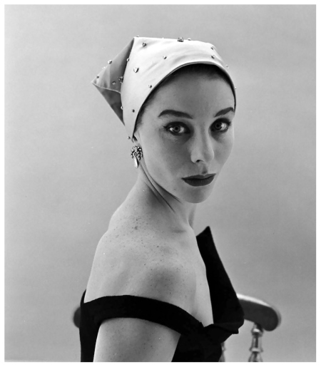 Bettina is wearing headscarf covered with paillettes by Givenchy, photo by Nat Farbman, Feb. 1952