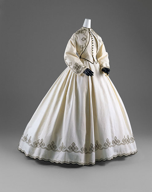 Day Dress American, 1862–64 White cotton piqué with black soutache The Metropolitan Museum of Art, New York,