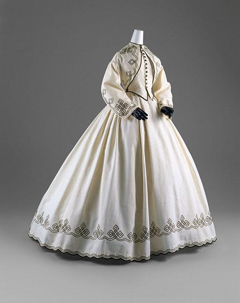 Day Dress American, 1862–64 White cotton piqué with black soutache The Metropolitan Museum of Art, New York,