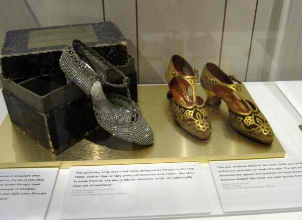 Sparkling footwear by 1920's shoe designing star, Andre Perugia. Bata Shoe Museum