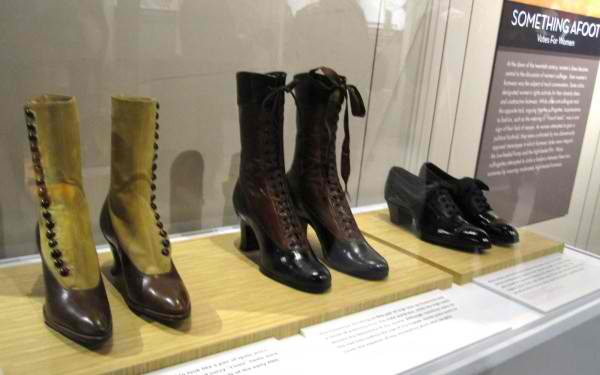 erious footwear of the Suffragettes who fought for the vote for women. On display at the Bata Shoe Museum, Toronto
