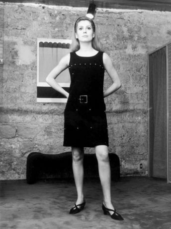 C. Deneuve modelling a Rive Gauche 1966 dress