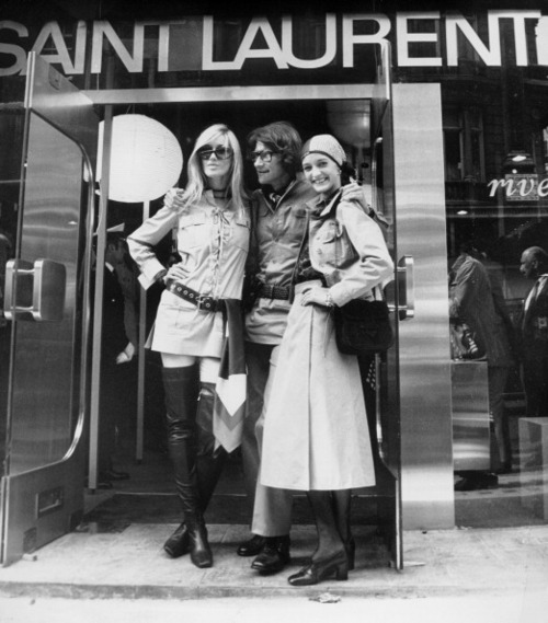 YSL posing with Rive Gauche models