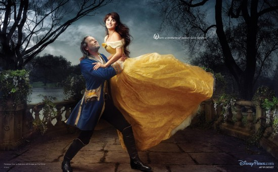Jeff Bridges and Penelope Cruz as Beauty and the Beast