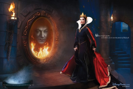 Olivia Wilde and Alec Baldwin as the Evil Queen and Magic Mirror from Snow White and the Seven Dwarfs