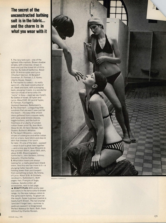 DEBORAH TURBEVILLE Vogue Editorial There's More to a Bathing Suit Than Meets The Eye, May 1975 Shot #2