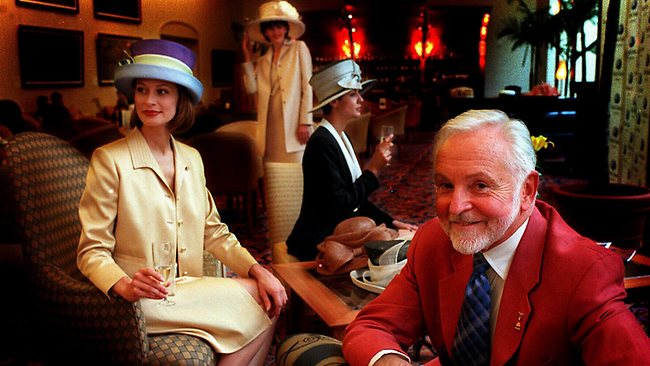 Frederick Fox, milliner to Queen Elizabeth, pictured in Melbourne with models wearing his creations. Picture: James Croucher