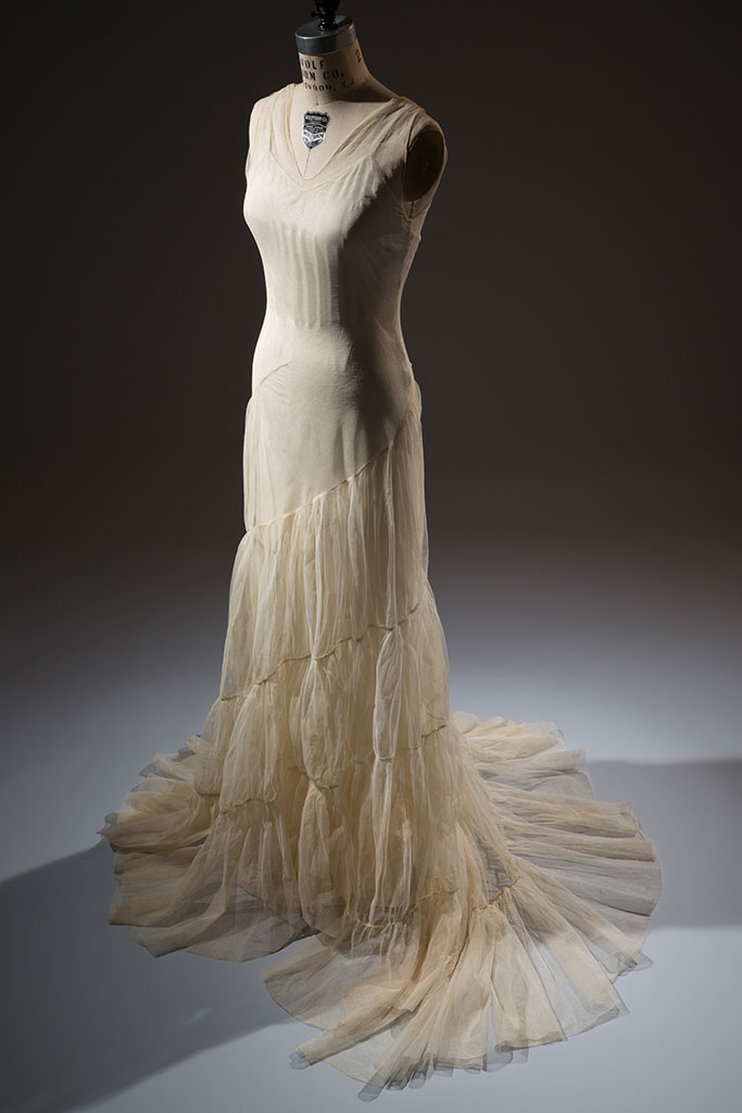 Augustabernard ivory tulle gown and slip (licensed American copy), New York, 1934, gift of Mrs. Jessie L. Hills