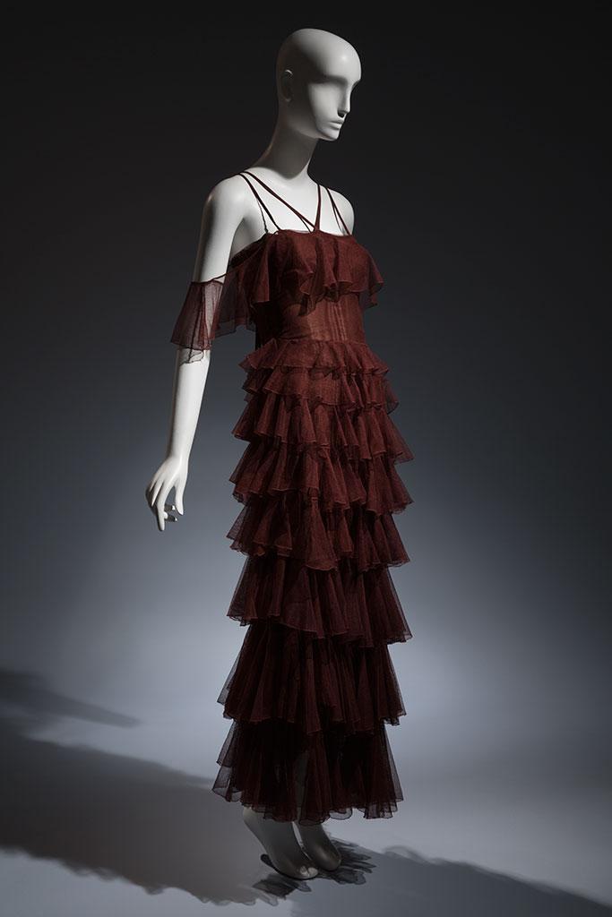 Jean Patou brown cotton tulle evening gown, circa 1932, Paris, lent by Beverley Birks