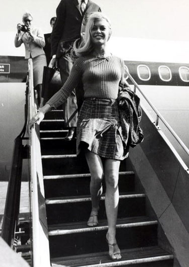 Actress Brigitte Bardot in a miniskirt, 1965