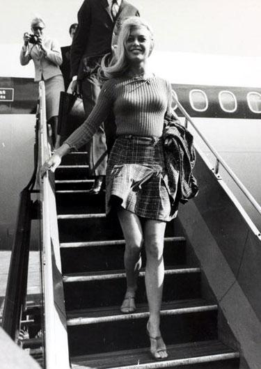 Actress Brigitte Bardot in a miniskirt, 1965