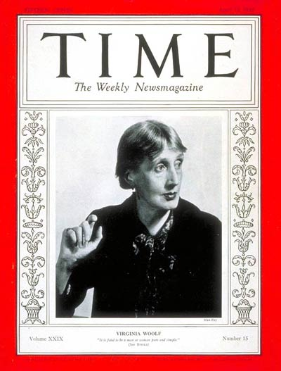 Virginia Woolf photographed by Man Ray on the cover of Time (12 April 1937)