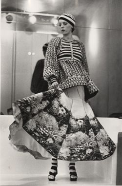Knitted jacket ensemble  from Bill Gibb's first solo collection at the Oriental Club in London in 1972.