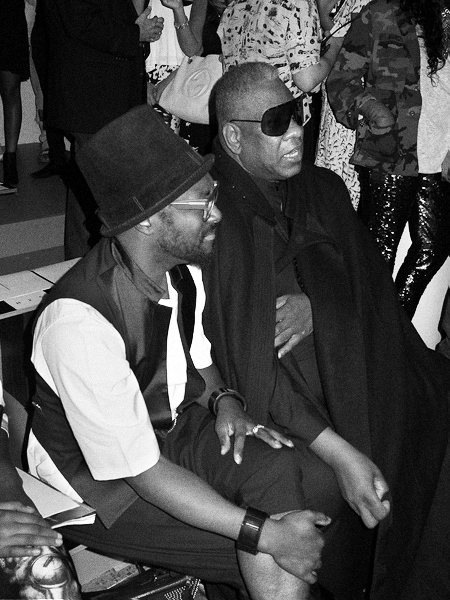 will.i.am of the Black Eyed Peas and Andre Leon Talley at the Public School show at Milk