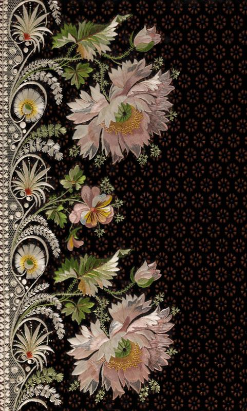 Embroidery sample for a man's suit, 1800–1815. French. Silk embroidery on silk velvet; L. 13 1/4 x W. 11 1/8 in. (33.7 x 28.3 cm). The Metropolitan Museum of Art, New York,