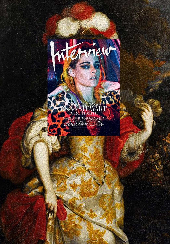 Kristen Stewart, Interview Magazine March 2015 + Portrait Allegorique D'Hortense Mancini, Duchesse De Mazarin (after) Henri Gascars