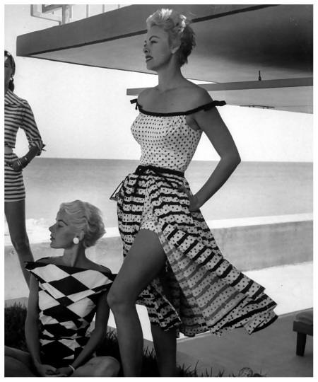 Bold-harlequin-pattern-blouse-by-Renee-Marciel-and-off-shoulder-polka-dot-bathing-suit-with-striped-and-dotted-skirt-by-Alix-of-Miami-Florida-March-1955
