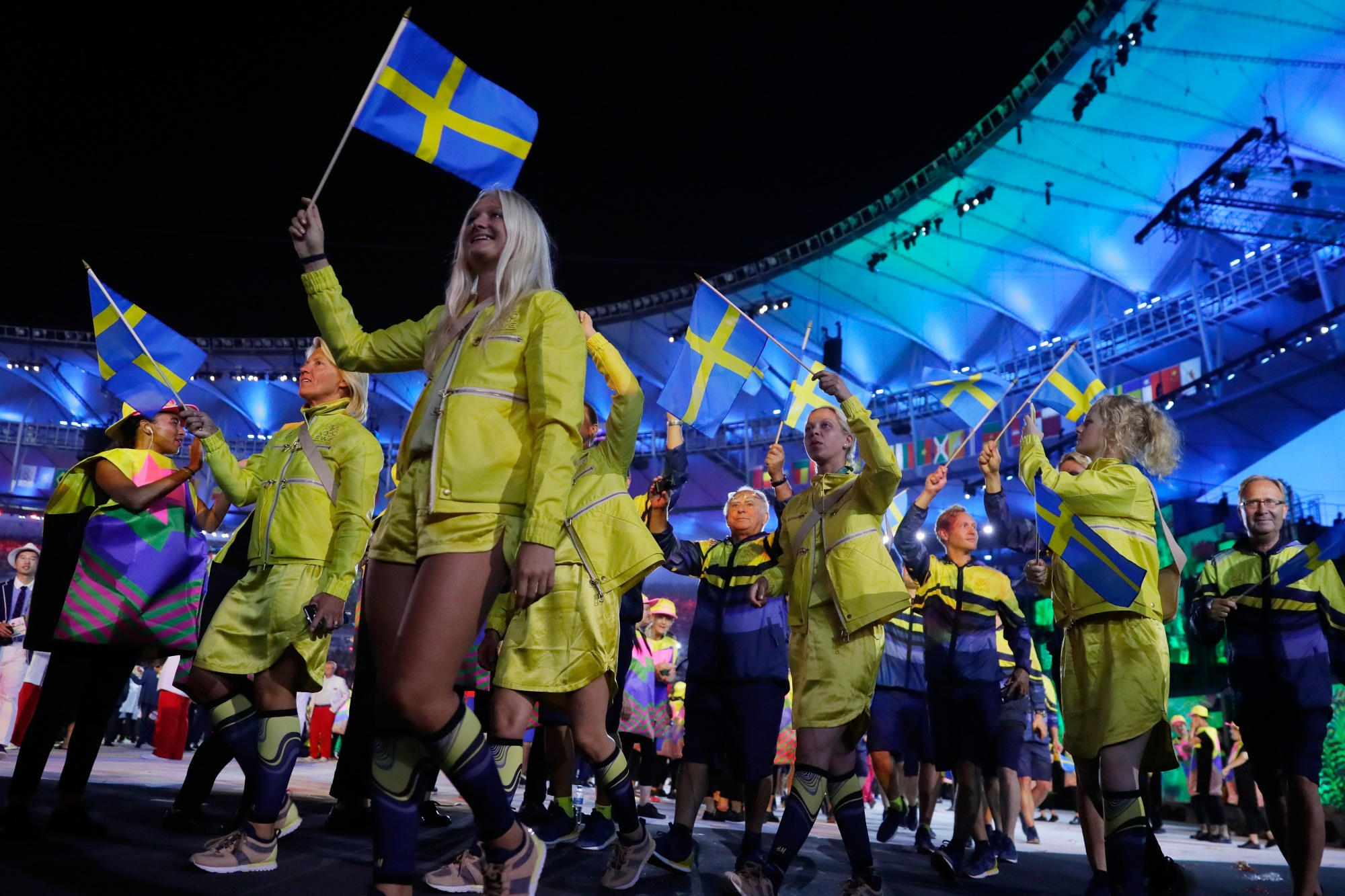 RIO DE JANEIRO, BRAZIL - AUGUST 05:  Members of Sweden participate during the Opening Ceremony of the Rio 2016 Olympic Games at Maracana Stadium on August 5, 2016 in Rio de Janeiro, Brazil.  (Photo by Jamie Squire/Getty Images)