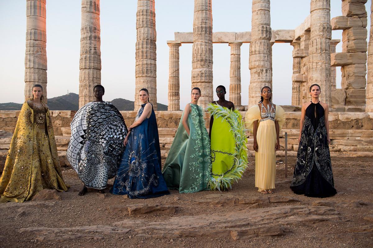 Mary Katranzou SS 2020 show at Temple of Poseidon, Sounio, Greece