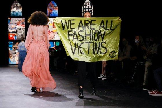 PFW 2021 Dior protestor