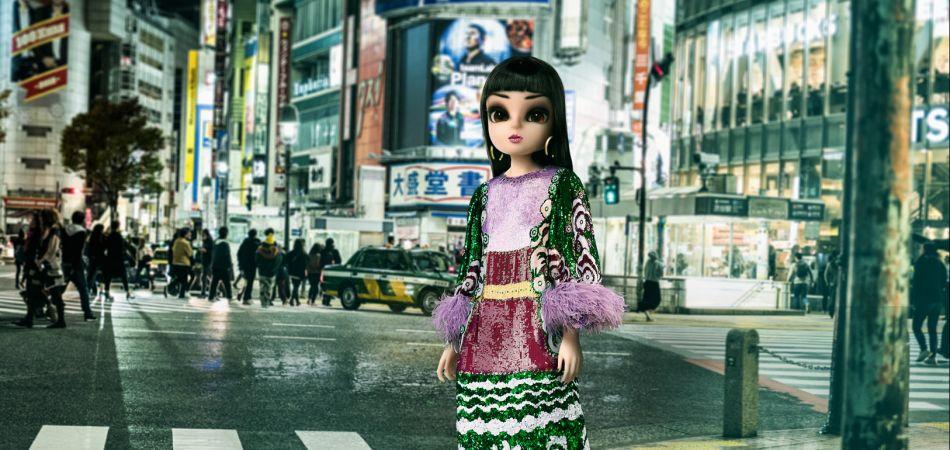 Noonoouri in a dress by Valentino in Tokyo via Joerg Zuber